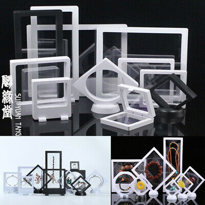 Suspended 3D Floating Display Stand Jewelry Gems  Show Frame Holder Storage Box • 3.29£