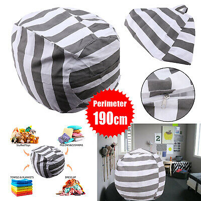 EXTRA LARGE Stuffed Animal Toy Storage Bean Bag Bean Cover Soft Seat Grey L PT • 6.69£