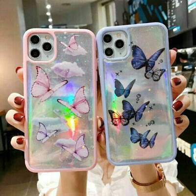 AU12.98 • Buy Girl Butterfly Glitter Sparkle Laser Case Cover For IPhone 11 Pro Max XS 7 8Plus
