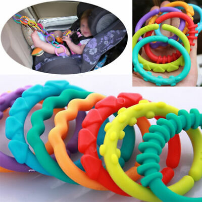 6x Rainbow Teether Ring Links Plastic Baby Kids Infant Stroller Play Mat Toys • 1.29£