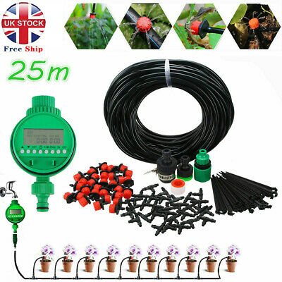 Automatic Drip Irrigation System Plant Timer Self Watering Garden 25M Hose Kit • 13.99£