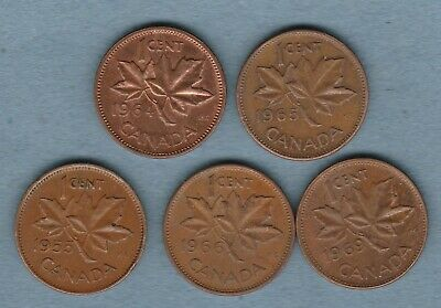 CANADA  5 XOne Cent Coins. Mixed Dates, • 1.99£