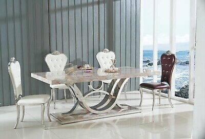 White Marble Dining Table Set With 6 Or 8 Faux Leather Chairs Kitchen Furniture • 849.99£