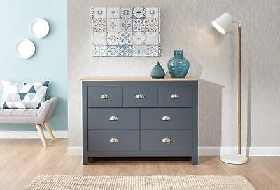 Chest Of Drawers Slate Blue Oak 7 Drawer Sideboard Two Tone Wooden Furniture • 156.99£