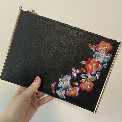 AU18 • Buy FOREVER NEW Black Gold Clutch Crossbody Bag With Floral Embroidery