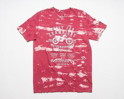 PRPS Goods & Co. NWT Red White Bleached Motocross Cotton T-Shirt Tee Shirt M • 52.43£