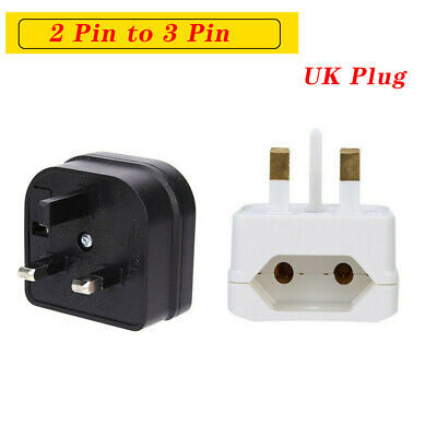 European 2 Pin To UK 3 Pin Plug Adaptor Euro EU Schuko Travel Mains Adapter UK • 4.29£