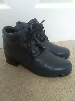 Women's Pavers Navy Leather Lace Up Ankle Boots - Sizev36(3) • 12£