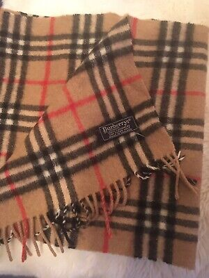 Burberry Of London 100% Cashmere Beige Check Vintage Ladies Scarf • 41£