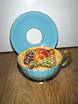 £49.99 • Buy Aynsley Fine Bone China Orchard Gold Fruit Turquoise Cup & Saucer