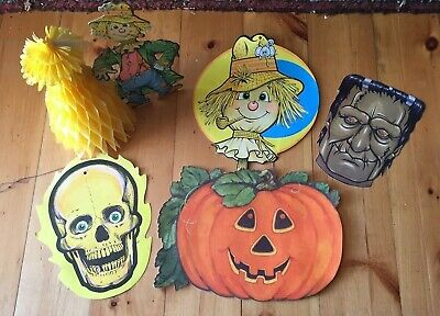 $ CDN26.42 • Buy Vintage Lot Halloween Beistle WPC Honeycomb Scarecrow Skull JOL Frankenstein