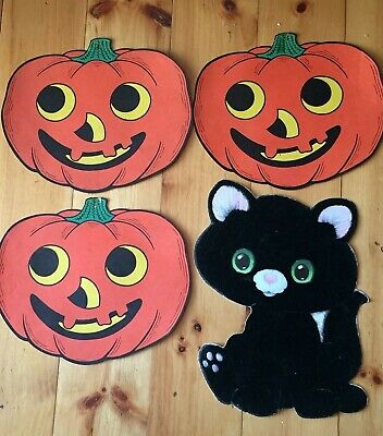 $ CDN19.81 • Buy Vintage Lot 3 Halloween Flocked / Velvet Cat &  3 JOL Made In USA Jack O Lantern