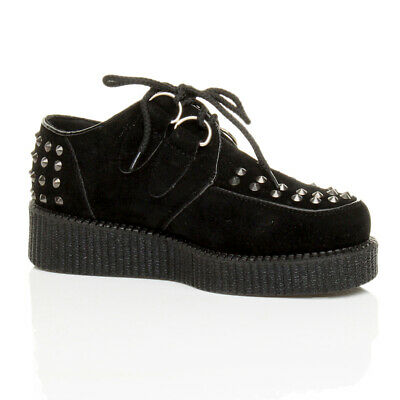 Womens Ladies Flat Platform Wedge Lace Up Punk Creepers Shoes Boots Size • 12.99£