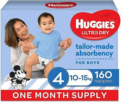 AU74.59 • Buy HUGGIES Ultra-Dry Nappies, Boys, Size 4 (10-15kg), One-Month Supply, 160 Count