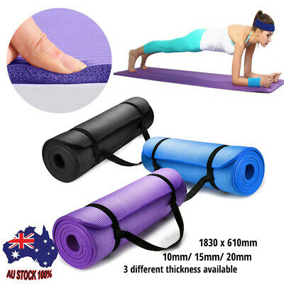 AU15.67 • Buy Yoga Mat Pilates Gym NonSlip Thick Soft Mats Exercise Fitness Durable 10/15/20MM