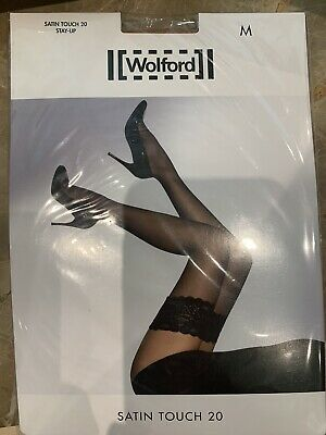 Wolford Satin Touch 20 Stay-Up, Colour Gobi, Size Medium • 18£