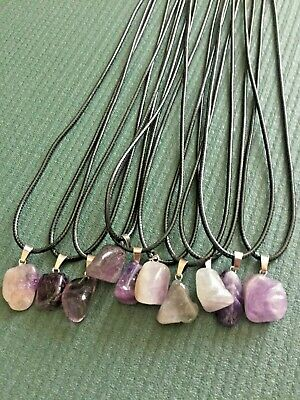 10 X Amethyst Pendant Necklace's Set On 24 Inch Wax Cord Necklace With Clasp • 7.89£