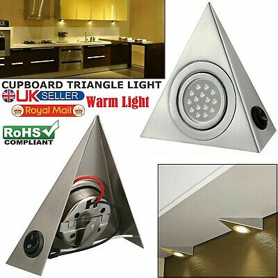 LED Mains Kitchen Under Cabinet Cupboard Triangle Downlight Kit Warm White Light • 8.95£