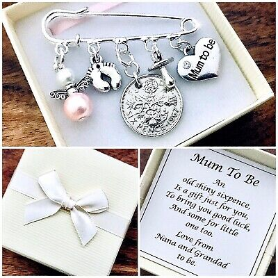 £5.99 • Buy LUCKY SIXPENCE Charm, MUM TO BE, Pregnancy, Baby Shower, PERSONALISED Gift Box