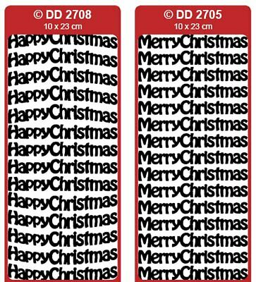 £1.10 • Buy D2705/2708: Happy Christmas / Merry Christmas 12mm Peel Off Stickers Card Making