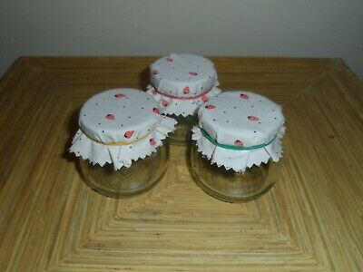 3 Small Used Jam Jars With Lids Craft Storage Wedding Favours • 2.10£