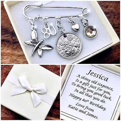£5.99 • Buy LUCKY SIXPENCE Charm WITH BIRTHSTONE, 80th BIRTHDAY, PERSONALISED Gift Box