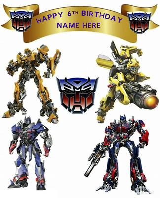 TOP QUALITY  TRANSFORMERS PERSONALISED  Edible Cake Cupcake Toppers  Icing/Wafer • 3.89£