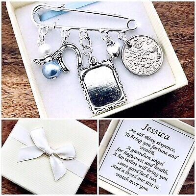 LUCKY SIXPENCE BRIDE Kilt Pin MEMORY Charm, HORSESHOE, ANGEL, PICTURE FRAME Gift • 6.49£