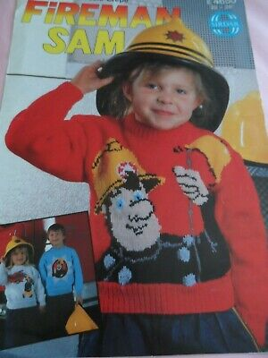 SIRDAR FIREMAN SAM  SWEATER  KNITTING PATTERN SZ 22 /28 Ins NEW CONDITION • 2.99£