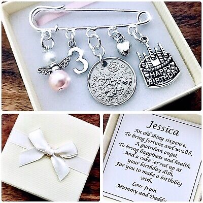 LUCKY SIXPENCE BIRTHDAY Charm Gift, 1st To 5th, BOY OR GIRL, PERSONALISED Box • 5.99£