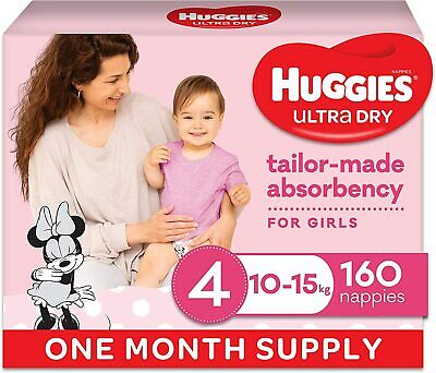AU73.99 • Buy Huggies Ultra Dry Nappies, Girls, Size 4 Toddler (10-15kg), 160 Count