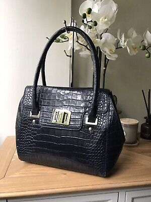 Hobbs London Navy Blue Moc Croc Medium Handbag Tote Bag  • 59£