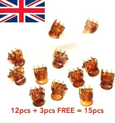 £2.57 • Buy 12 Strong Mini Clips Claw Clamps Small Plastic 1cm Brown Hair Clip Hair Claws UK