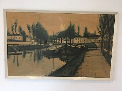 £32 • Buy Vintage Bernard Buffet Large Print Picture Canal Waterside Boat Canalboat