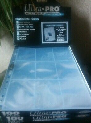 Perfect Trading Card A4 Sleeves 5 Ultra Pro 9 Pockets PLATINUM  • 3£