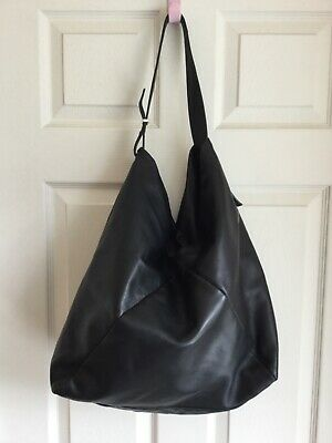 Autograph M&s 100% Soft  Black Leather Large Shoulder Hobo Bag  • 10.50£