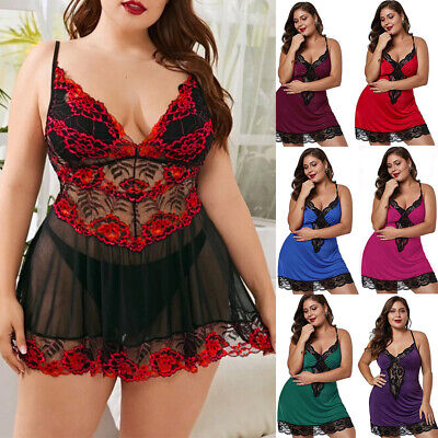Plus Size Sexy Ladies Lingerie Women Babydoll Robe Underwear Night Dresses Suits • 8.49£