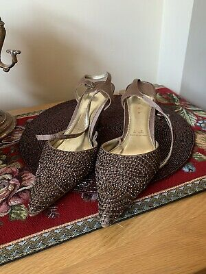 Ladies Debut Taupe Brown Beaded Sling Back Shoes Party Heels UK 5 Used Once • 5£