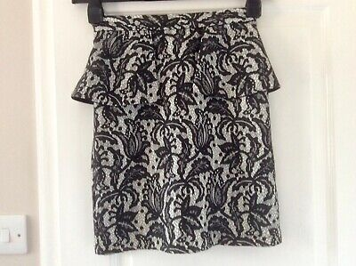 VGC  Ivory/Black Lace Overlay Peplum Skirt 8 L18.5in • 13.49£