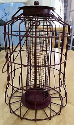 New Red Bird Peanut Feeder Squirrel Proof Protection Coated Metal Cage Outdoor • 20£