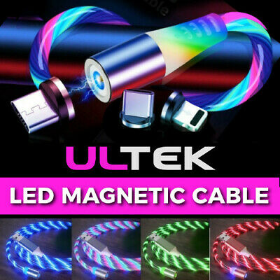 🇬🇧Magnetic LED Charger Glowing Cable For IPhone Samsung Huawei Mobile Phone • 5.99£