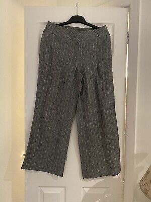 Marks And Spencer Wide Leg Linen Grey Stripe Trousers Size 12 • 0.50£