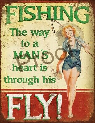 £6.95 • Buy Fishing The Way To A Mans Heart #0919 Signmetal New Funny Rude 10 X 7.7