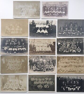 Collection RPPC's Original Postcards Vintage Early 1900's Football Teams Players • 9.21£
