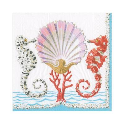 £2.50 • Buy 5 Paper Party Napkins Seahorse & Shell Pack Of 5 3 Ply Tissue Serviettes