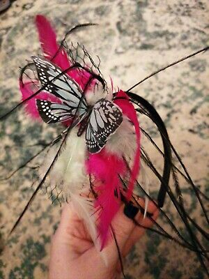 Feathered Butterfly Fascinator Hot Pink & Aqua Butterfly Netting  • 0.99£