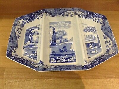 SPODE ITALIAN OCTAGONAL SERVING DISH TRIPLE SECTION 35cm LARGE V.G CONDITION • 50£