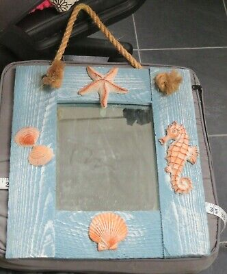 Hanging Sea Shell Mirror Wall Art Picture Plaque ~ Beach Theme Nautical SEAHORSE • 4.99£
