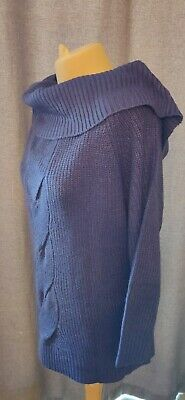 Blue Chunky Cable Knit Oversized Slouch Off The Shoulder Jumper XL/18/20/22 Plus • 6£