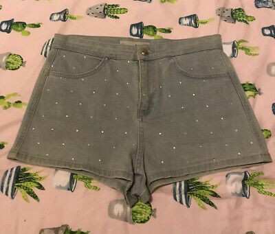 Topshop Moto Denim Shorts With Crystal Embellishment - Size 12 W30 • 4£